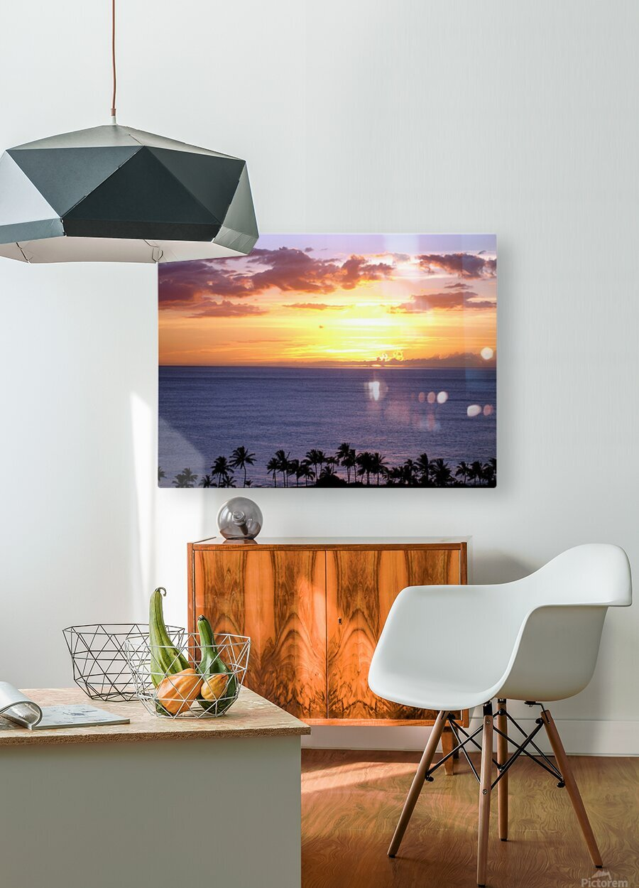 Golden Hawaii  HD Metal print with Floating Frame on Back