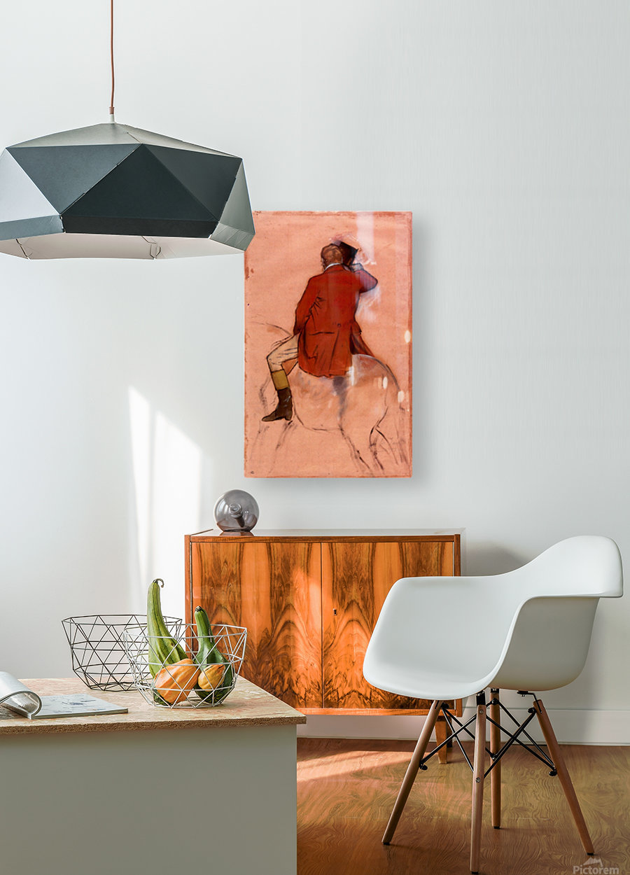 Rider with red jacket by Degas  HD Metal print with Floating Frame on Back