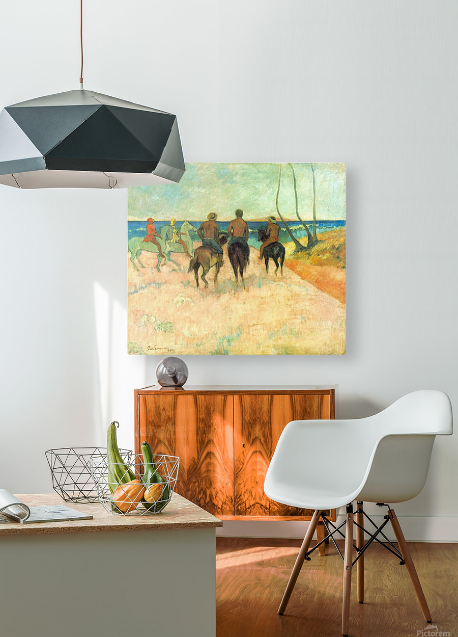 Riding on the Beach 2 by Gauguin  HD Metal print with Floating Frame on Back
