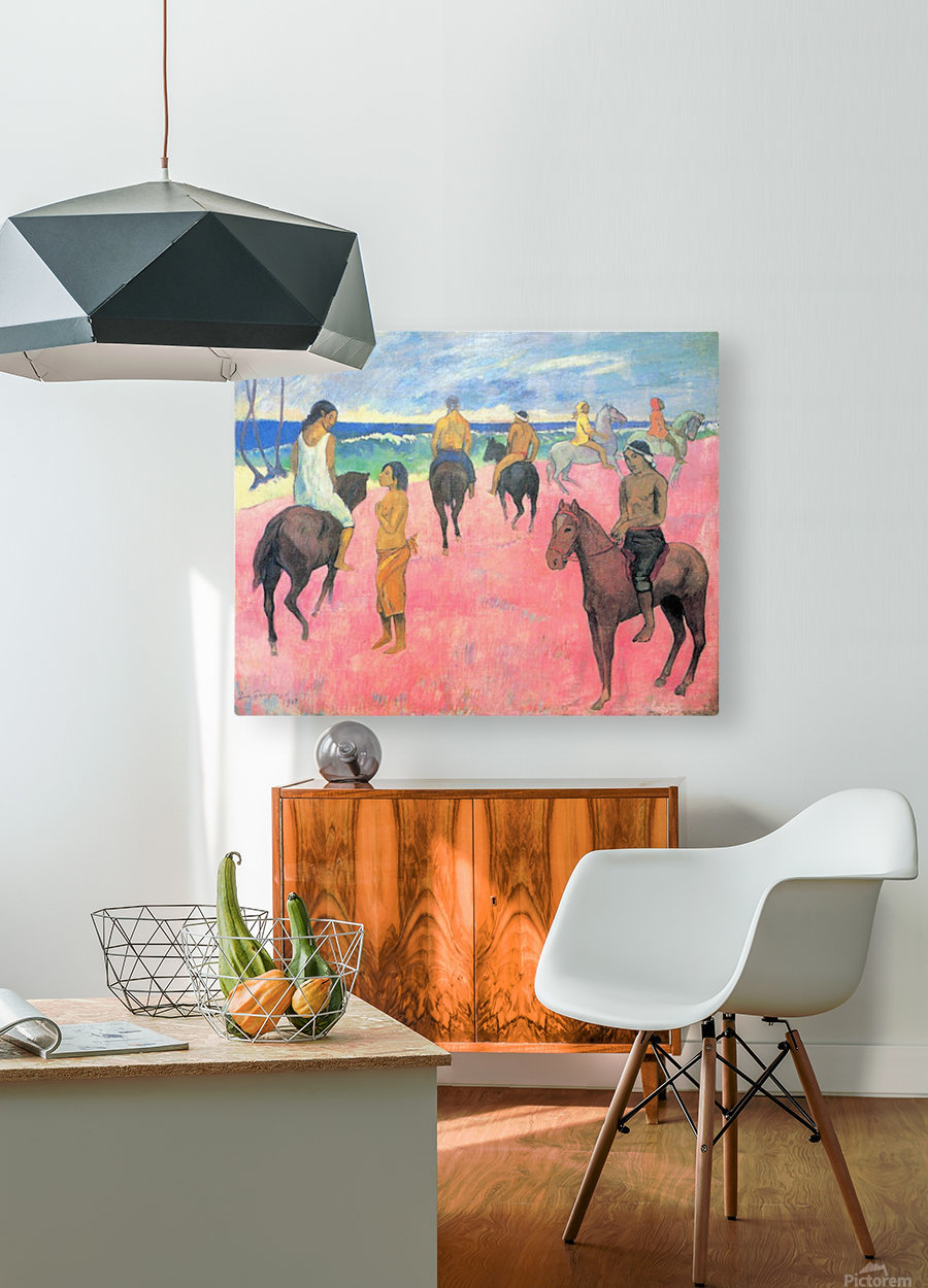 Riding on the beach by Gauguin  HD Metal print with Floating Frame on Back