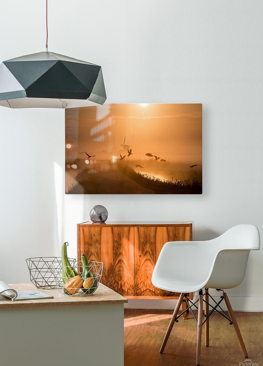 Sunrise Flight  HD Metal print with Floating Frame on Back