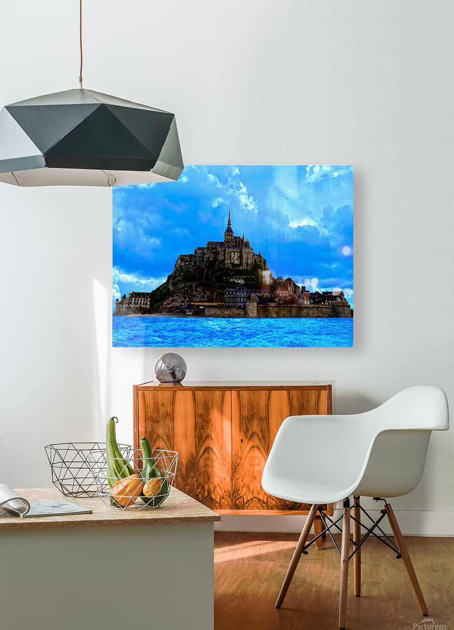 Mont St Michel Panorama  HD Metal print with Floating Frame on Back