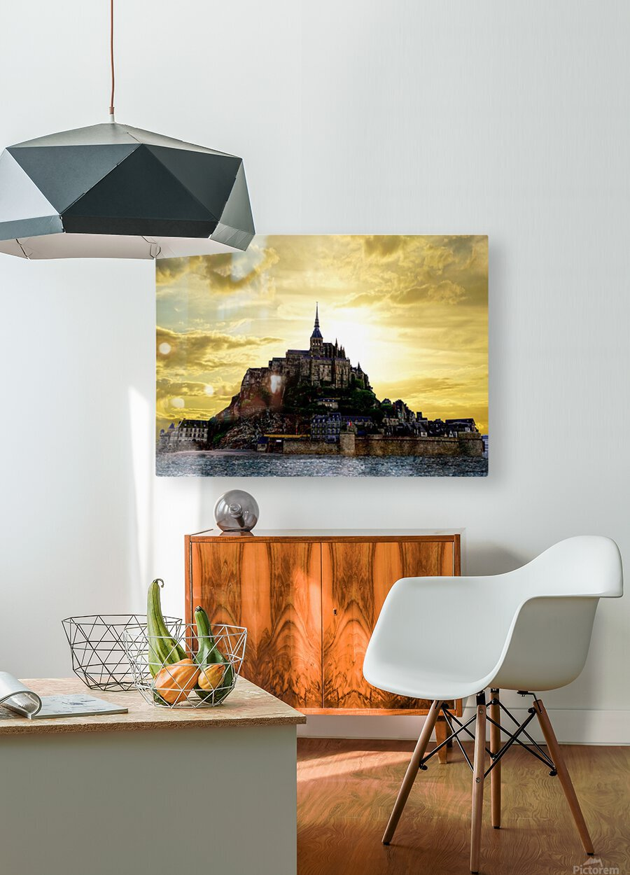 Golden Mont St Michel - Normandy France  HD Metal print with Floating Frame on Back