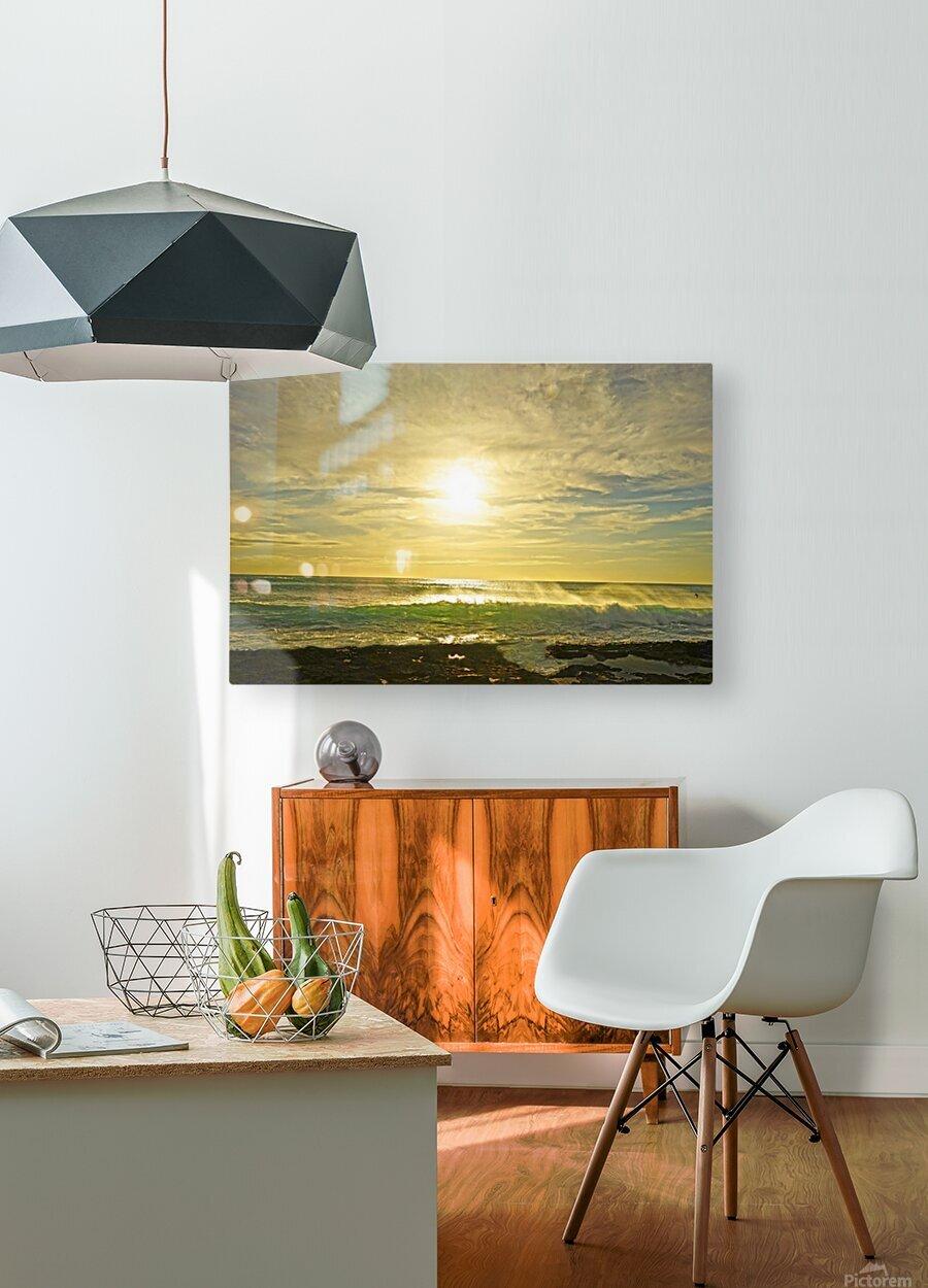 Splash - Sunset Hawaii  HD Metal print with Floating Frame on Back