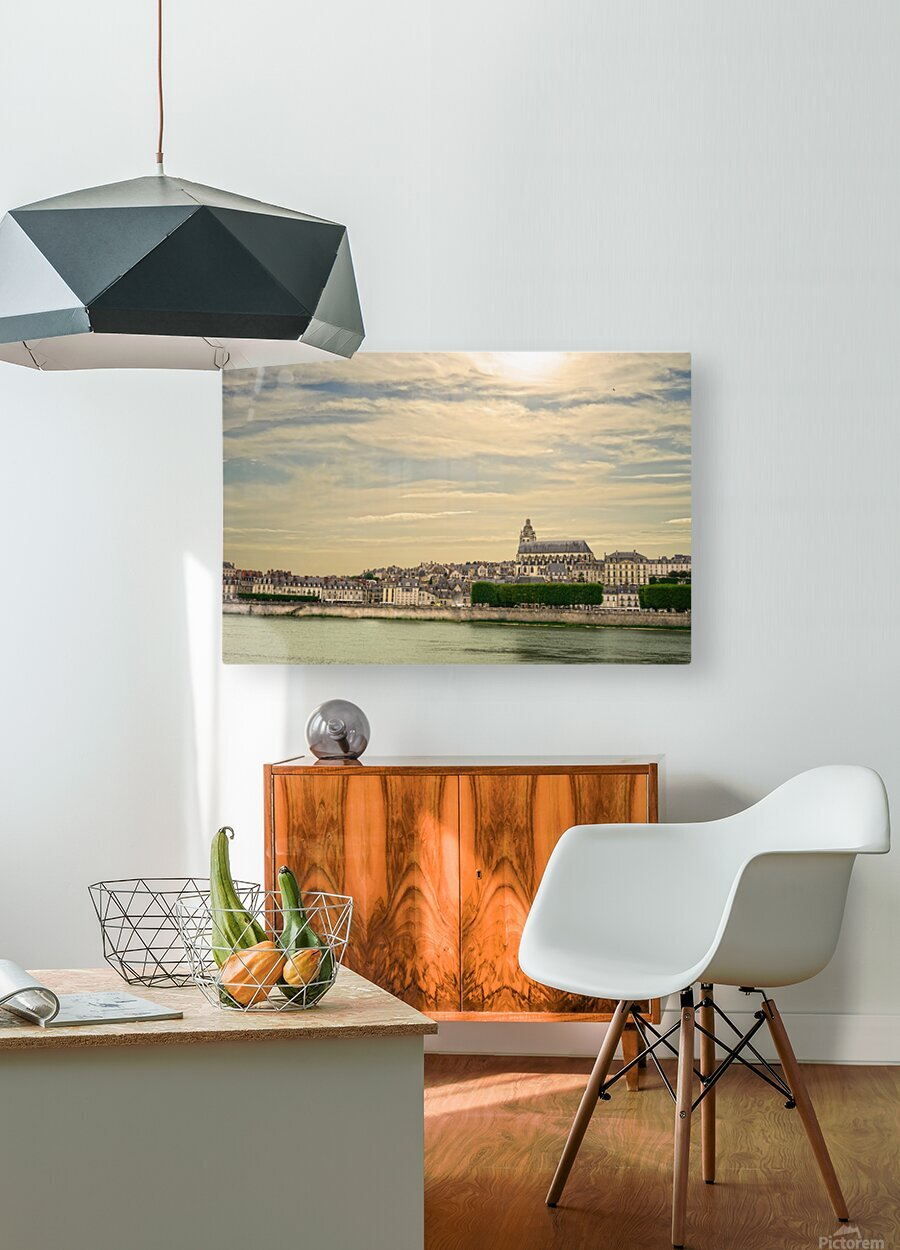Cathedrale Saint Louis Across the Loire - Sunset France  HD Metal print with Floating Frame on Back