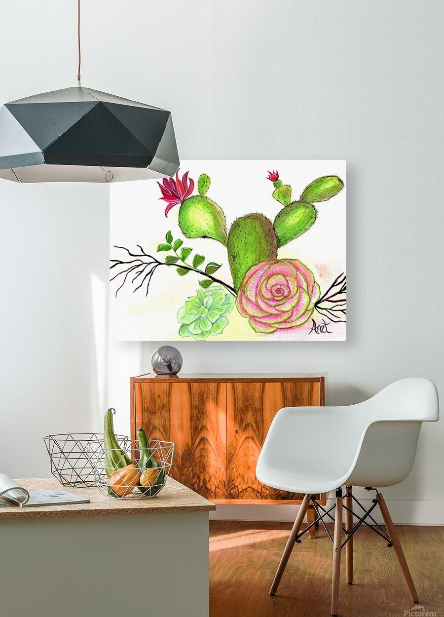 Flowering Cactus   HD Metal print with Floating Frame on Back