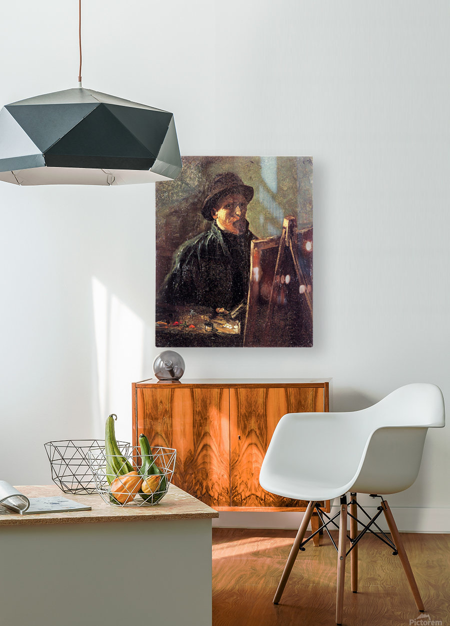Self-Portrait with Dark Felt Hat at the Easel by Van Gogh  HD Metal print with Floating Frame on Back