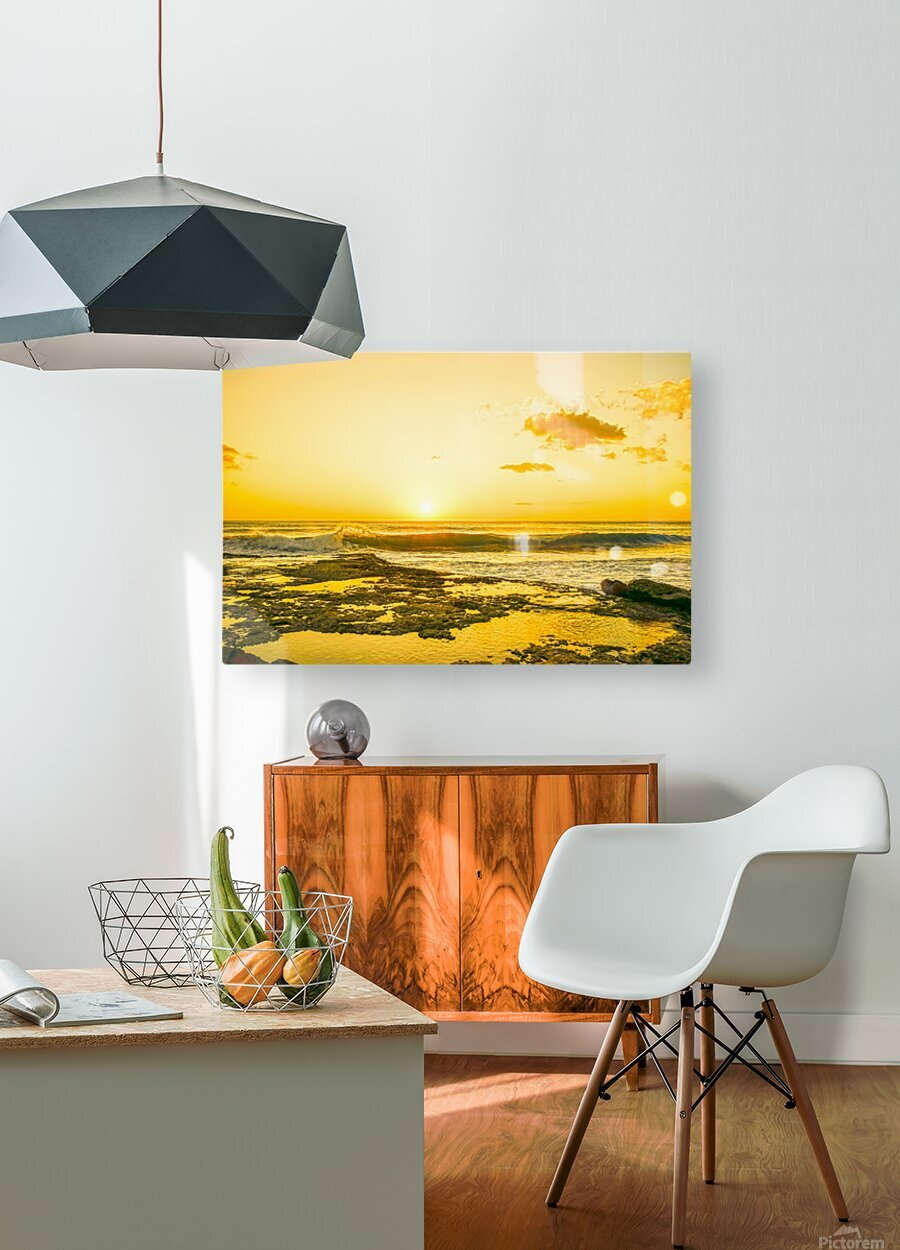 Golden Moment - Sunset Hawaiian Islands  HD Metal print with Floating Frame on Back