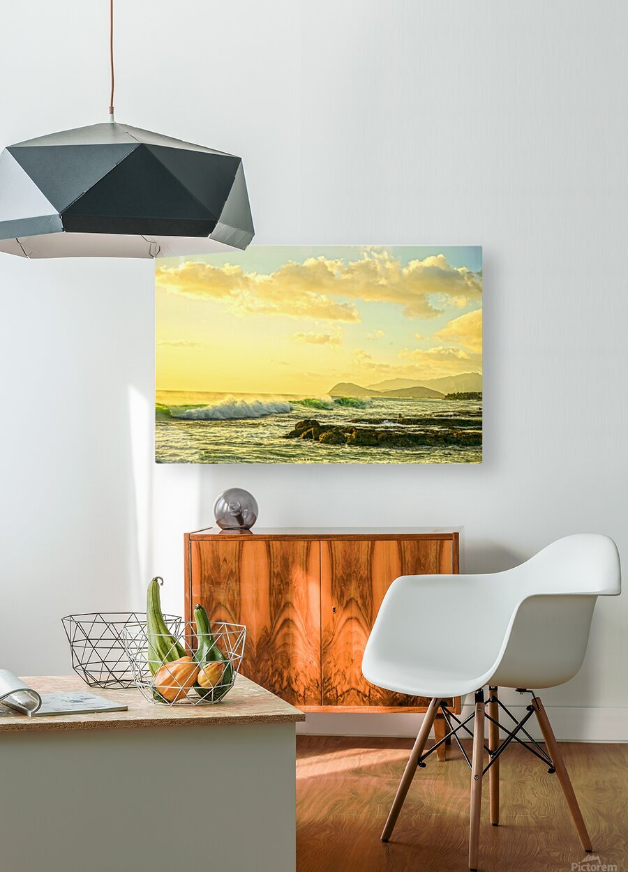 Perfect Day - Sunset Hawaiian Islands  HD Metal print with Floating Frame on Back