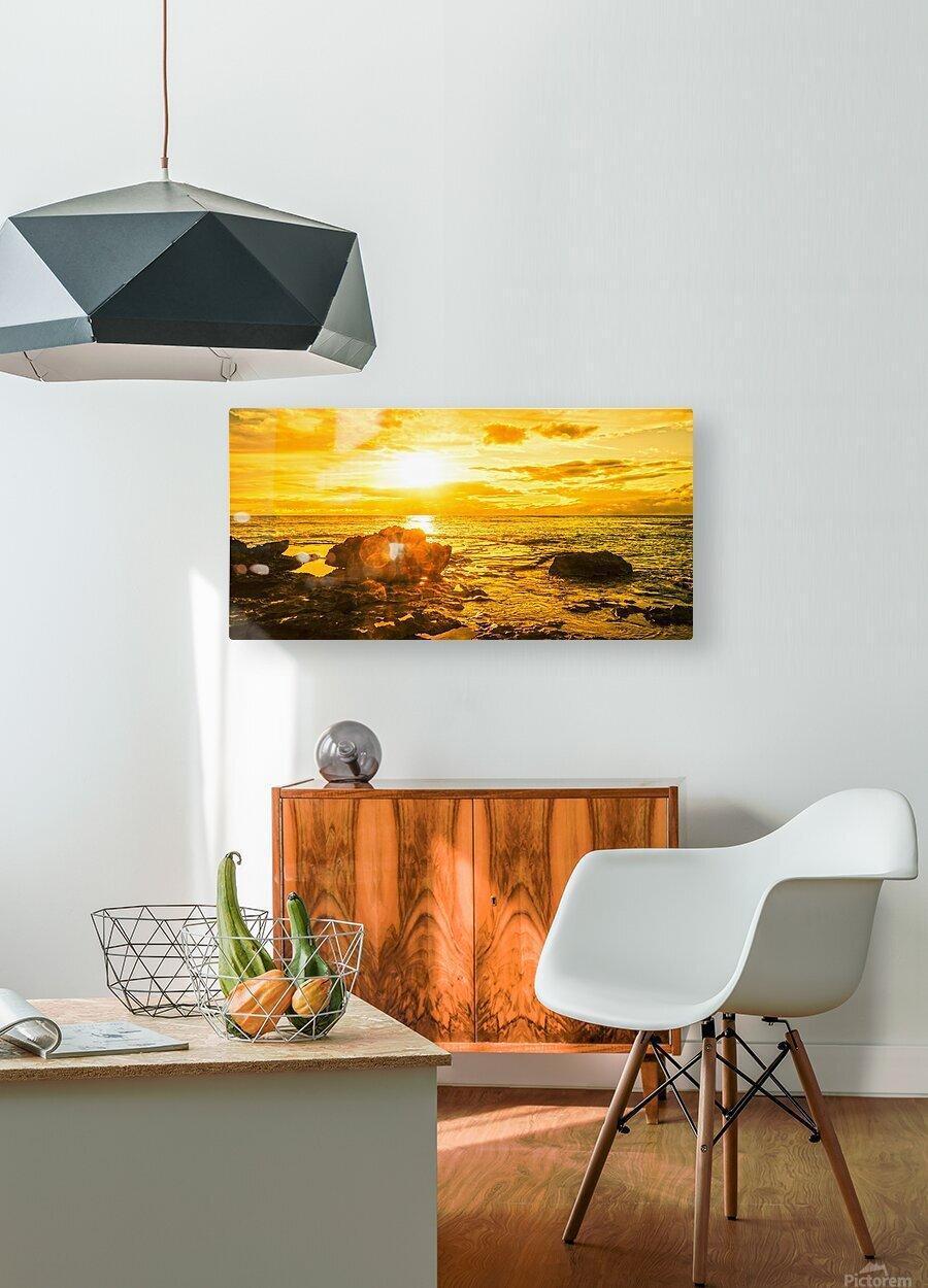 Majestic Sunset Panorama - Sunset Hawaiian Islands  HD Metal print with Floating Frame on Back