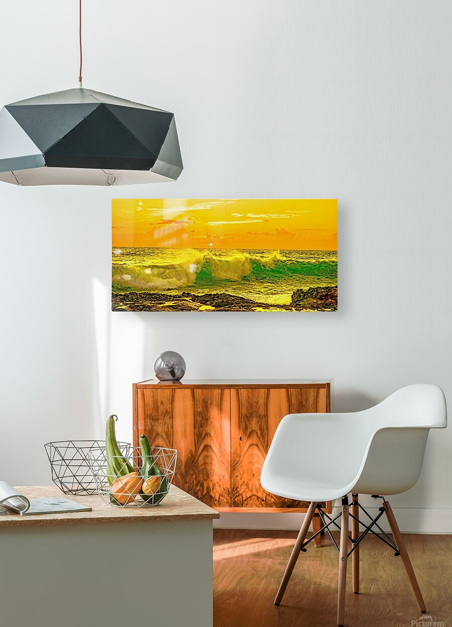 At the Sea Shore Panorama - Sunset Hawaiian Islands  HD Metal print with Floating Frame on Back