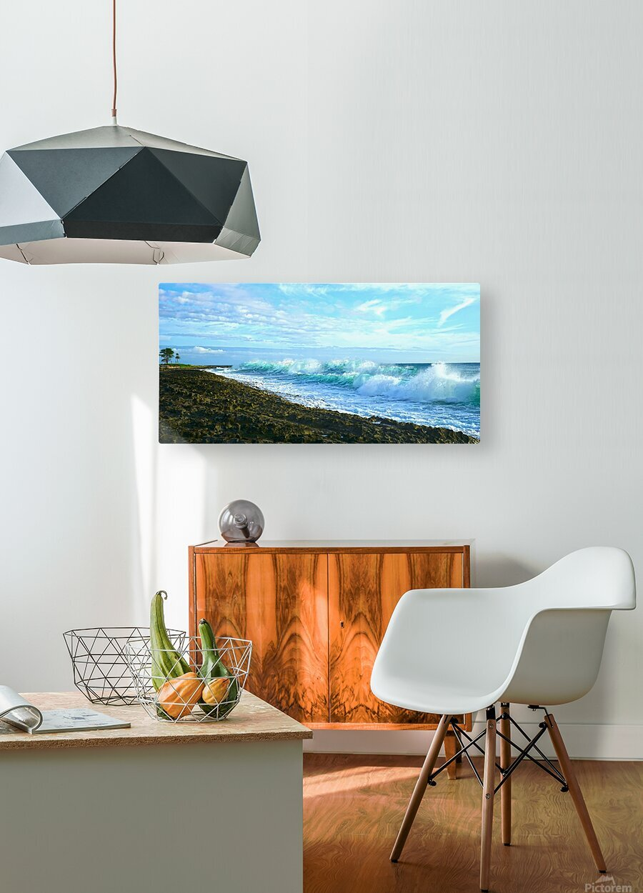 Blue Day Panorama  HD Metal print with Floating Frame on Back