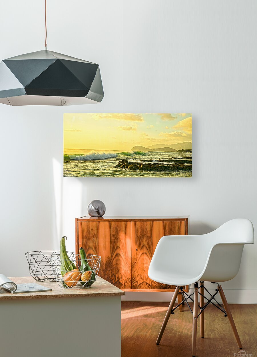 Perfect Day Panorama - Sunset Hawaiian Islands  HD Metal print with Floating Frame on Back