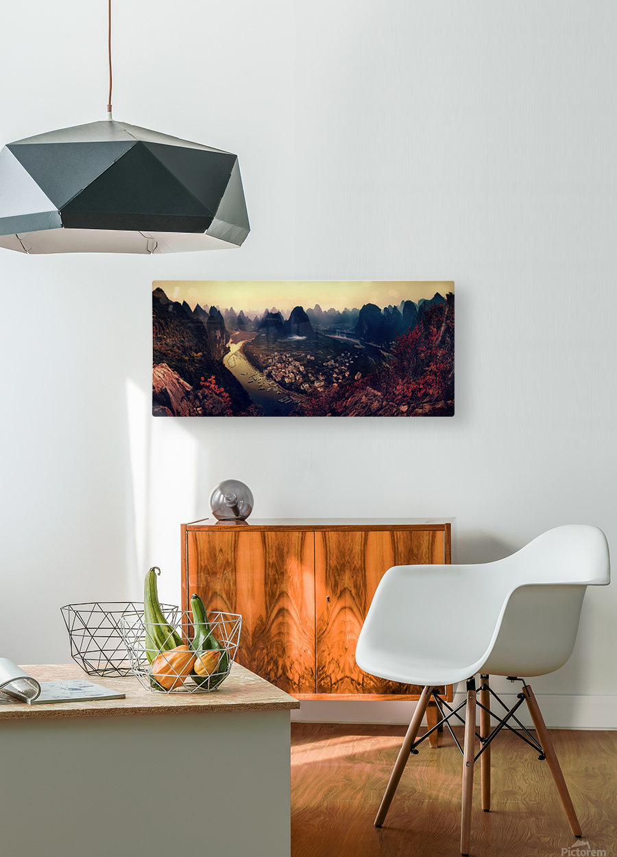 The Karst Mountains of Guangxi  HD Metal print with Floating Frame on Back