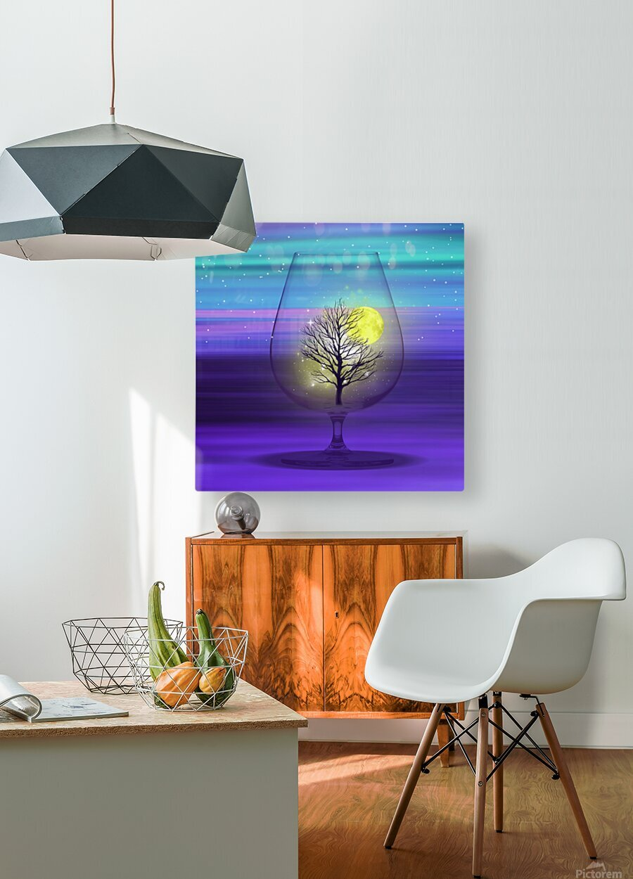 Landscape in a glass.  HD Metal print with Floating Frame on Back