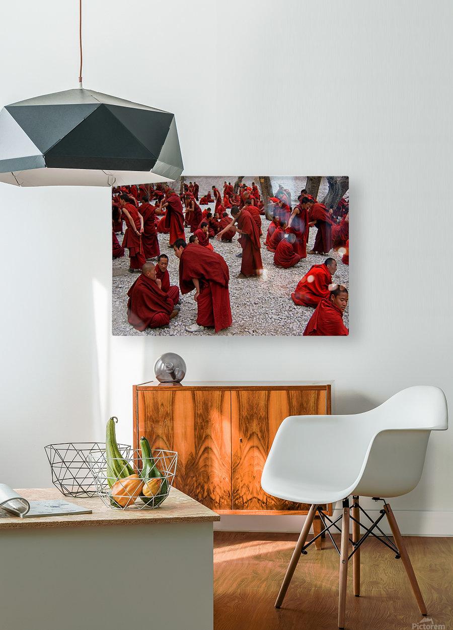 Monks debating  HD Metal print with Floating Frame on Back