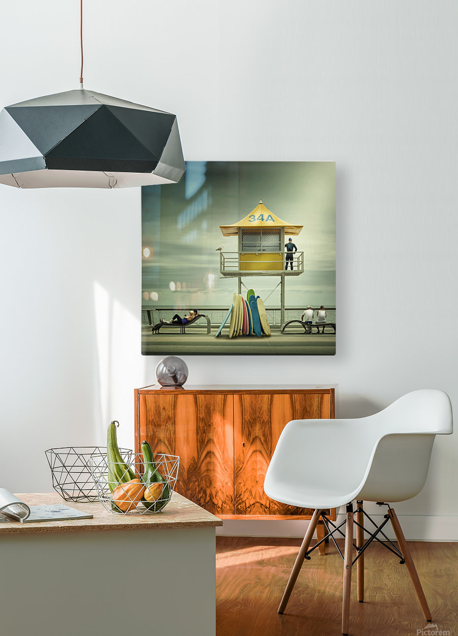 The life guard  HD Metal print with Floating Frame on Back