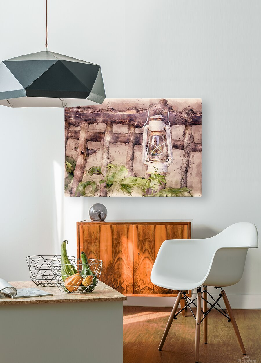 Maine Country Fence and Lantern  HD Metal print with Floating Frame on Back