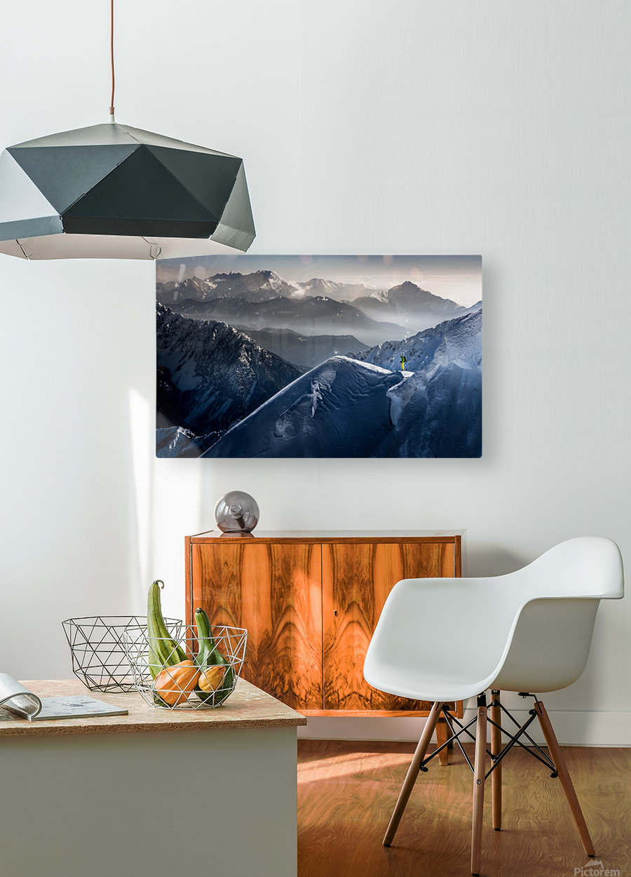 Silent Moments before Descent  HD Metal print with Floating Frame on Back