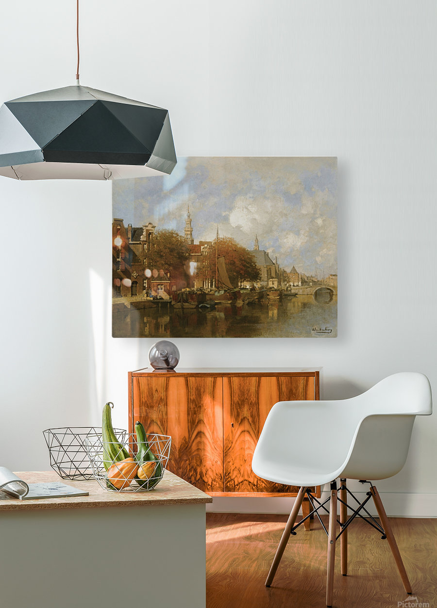 A capriccio view of the Oudezijds Voorburgwal, Amsterdam  HD Metal print with Floating Frame on Back