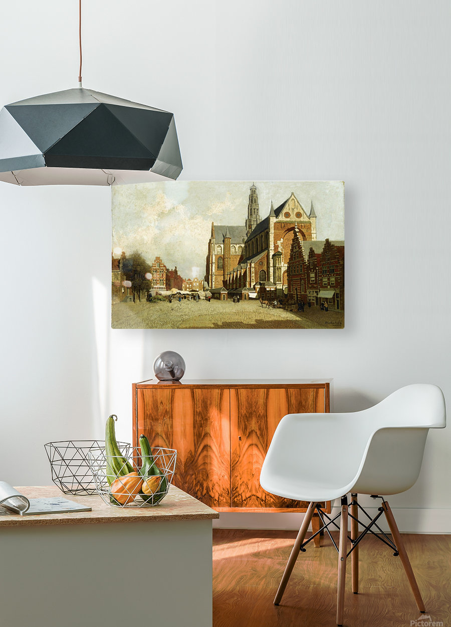 Market in Amsterdam near Saint Bavo Church  HD Metal print with Floating Frame on Back