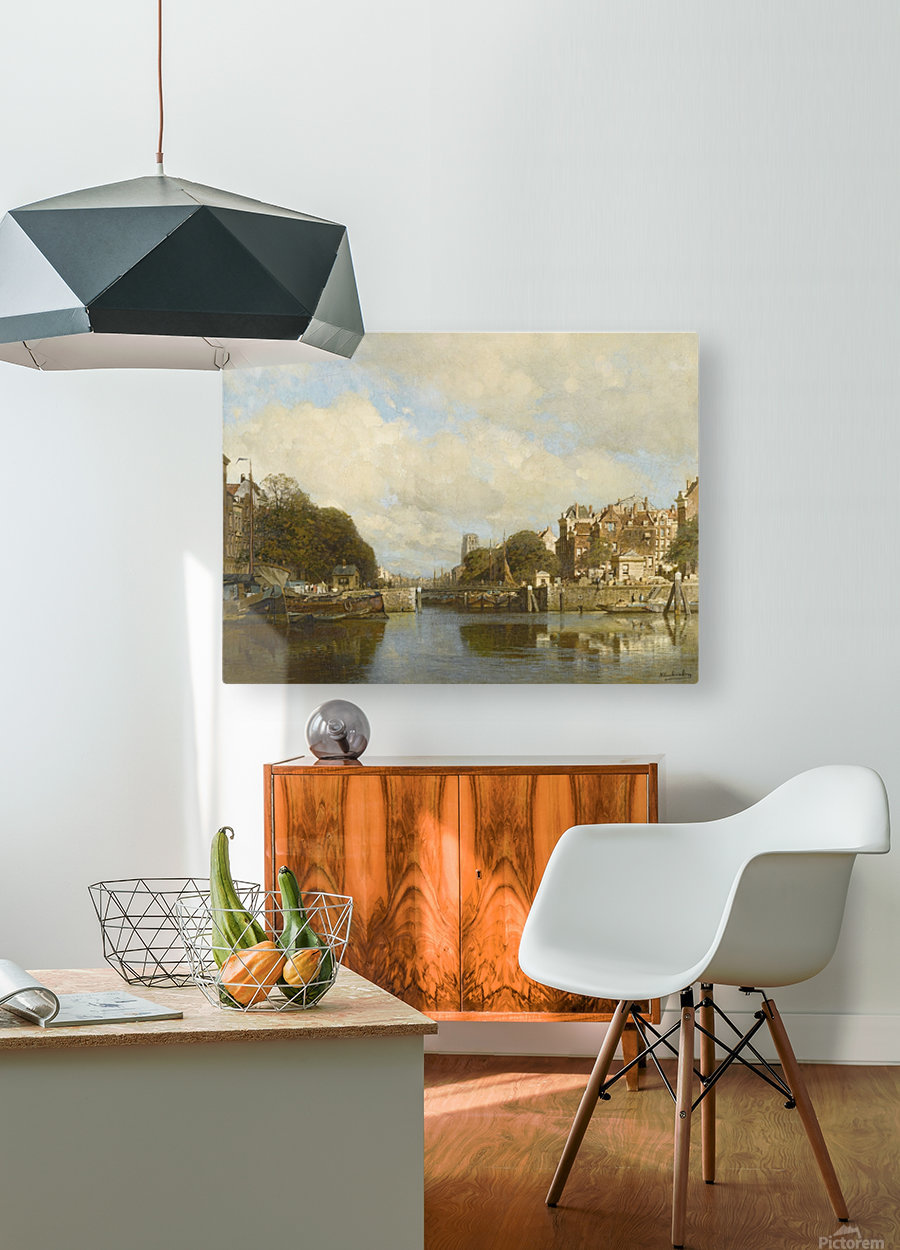 Rotterdam, with the Laurenskerk in the background  HD Metal print with Floating Frame on Back