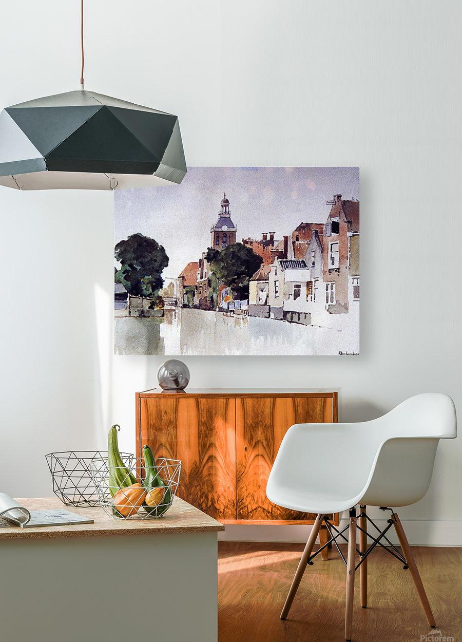 Gracht in Meppel met kerk  HD Metal print with Floating Frame on Back