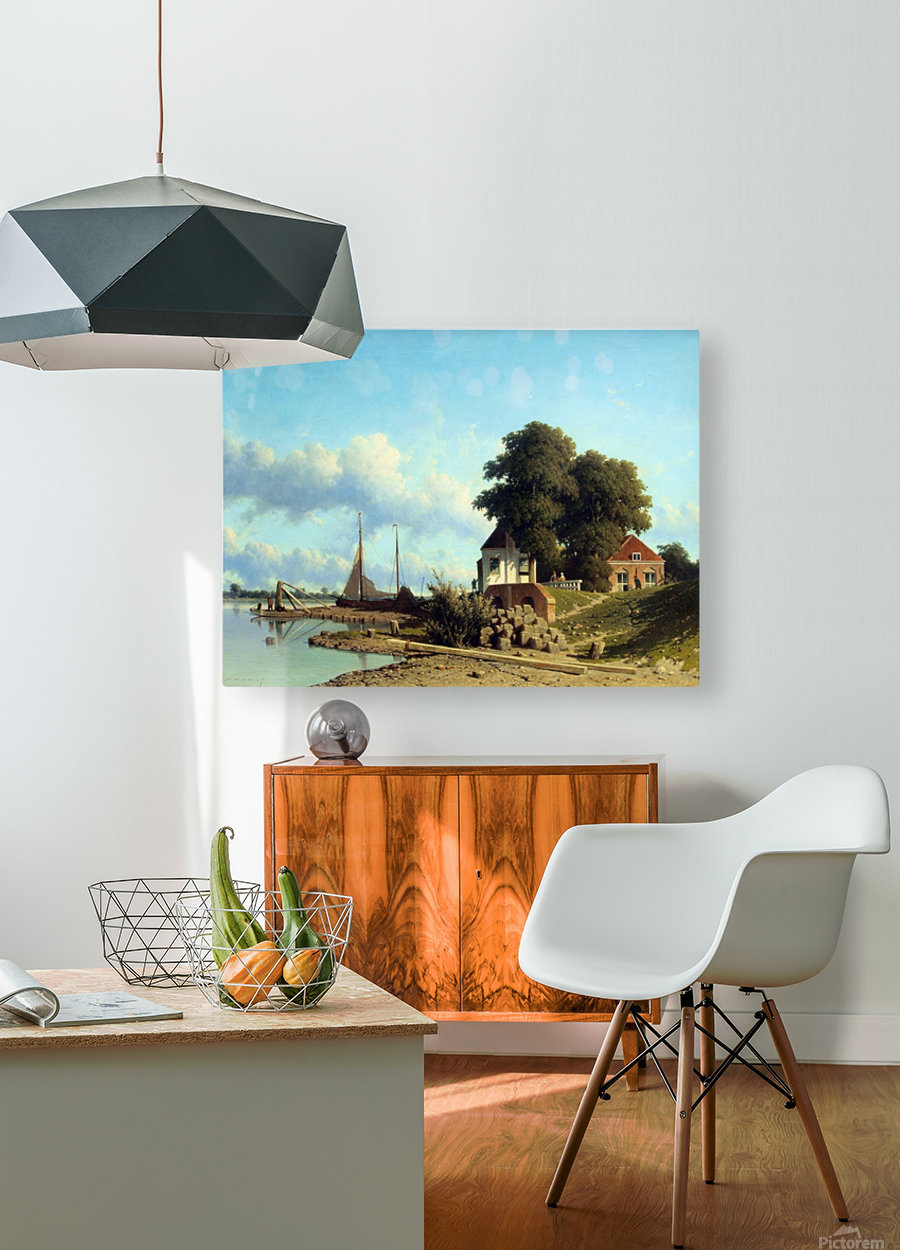 Aan de Lek bij Elshout  HD Metal print with Floating Frame on Back