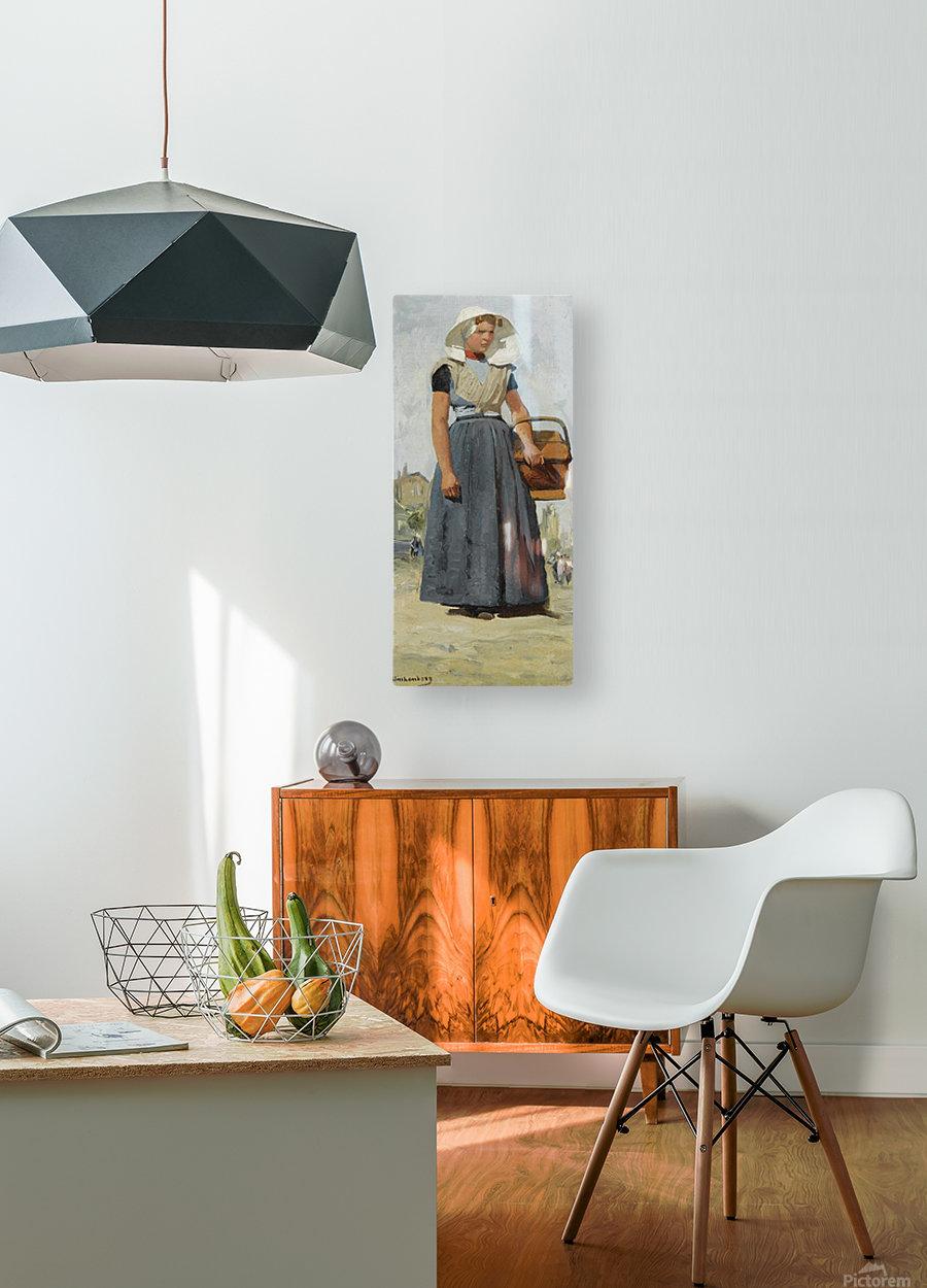 An Arnemuiden Fisherwoman  HD Metal print with Floating Frame on Back