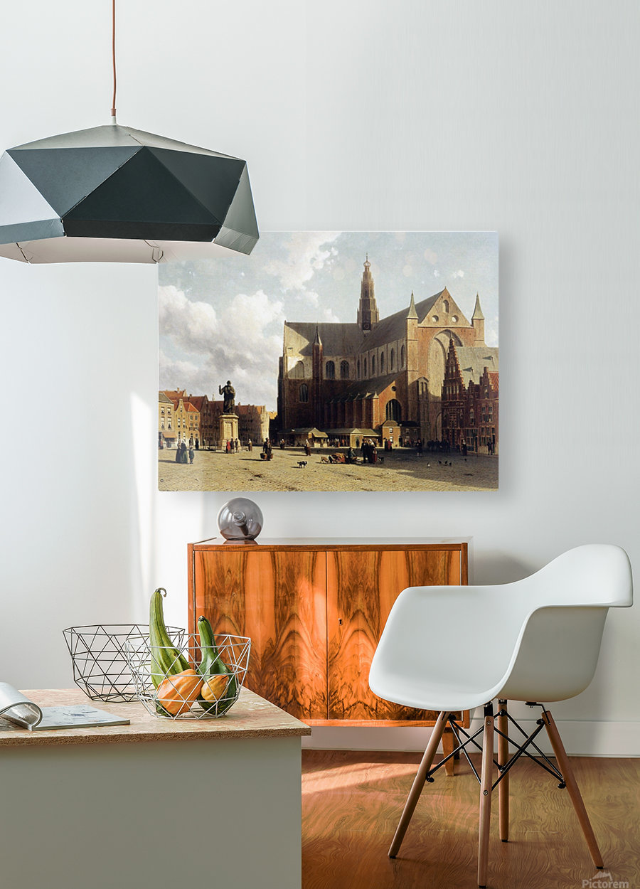 View of the Grote Markt, Haarlem, with numerous townsfolk strolling along the statue of Laurens Jansz  HD Metal print with Floating Frame on Back