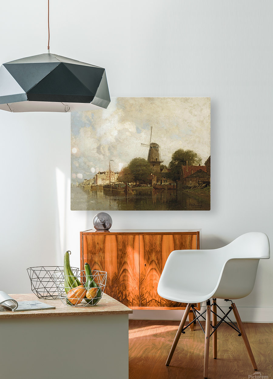 A windmill along the river Amstel, Amsterdam  HD Metal print with Floating Frame on Back