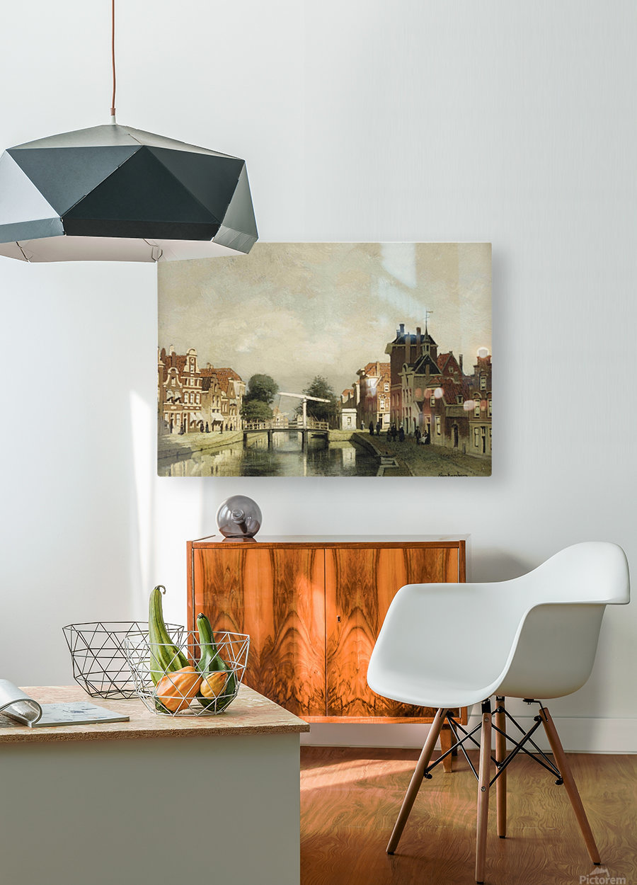 A sunlit canal with a draw-bridge  HD Metal print with Floating Frame on Back