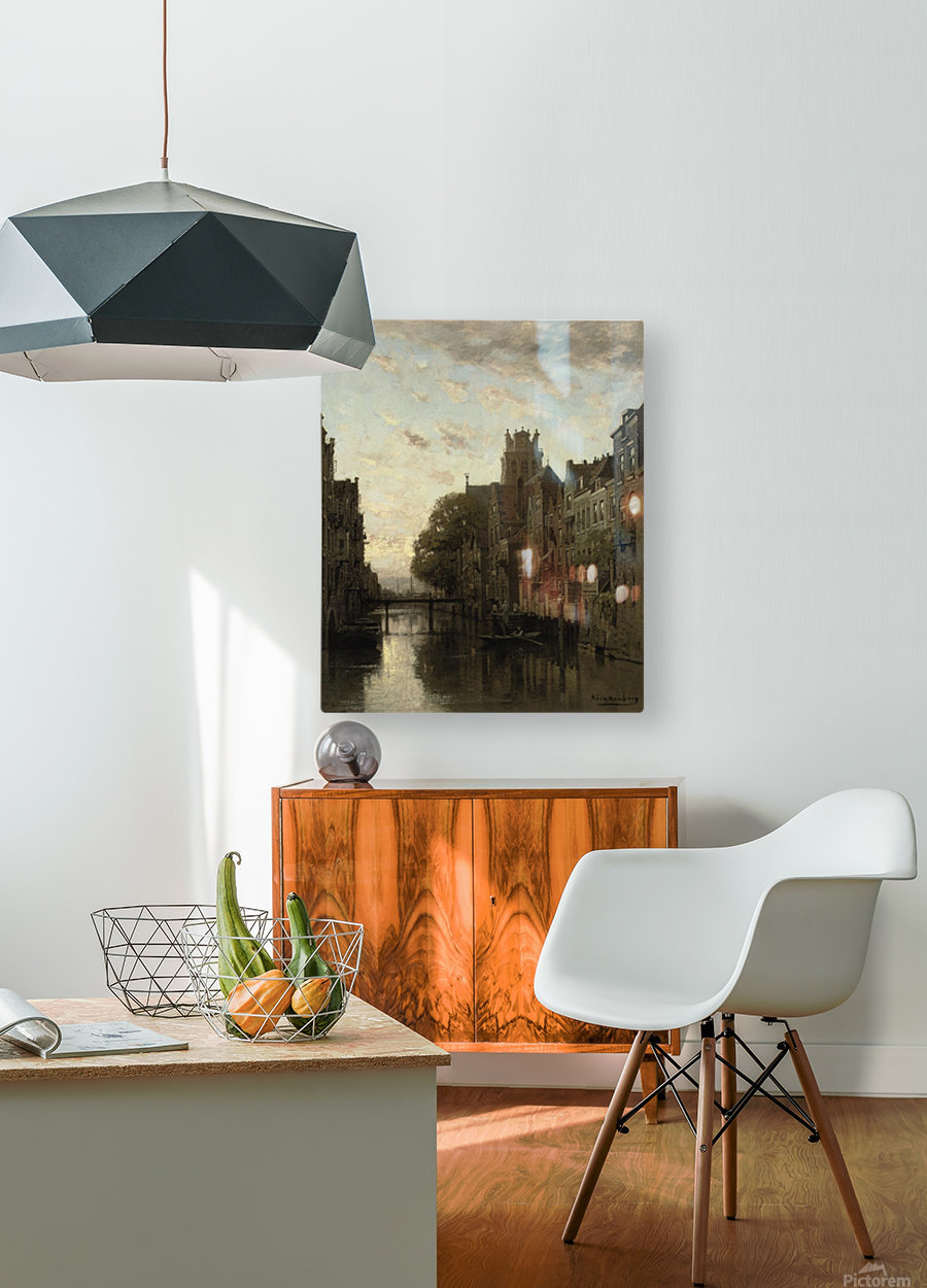A View of the Voorstraathaven with the Grote Kerk Beyond, Dordrecht  HD Metal print with Floating Frame on Back