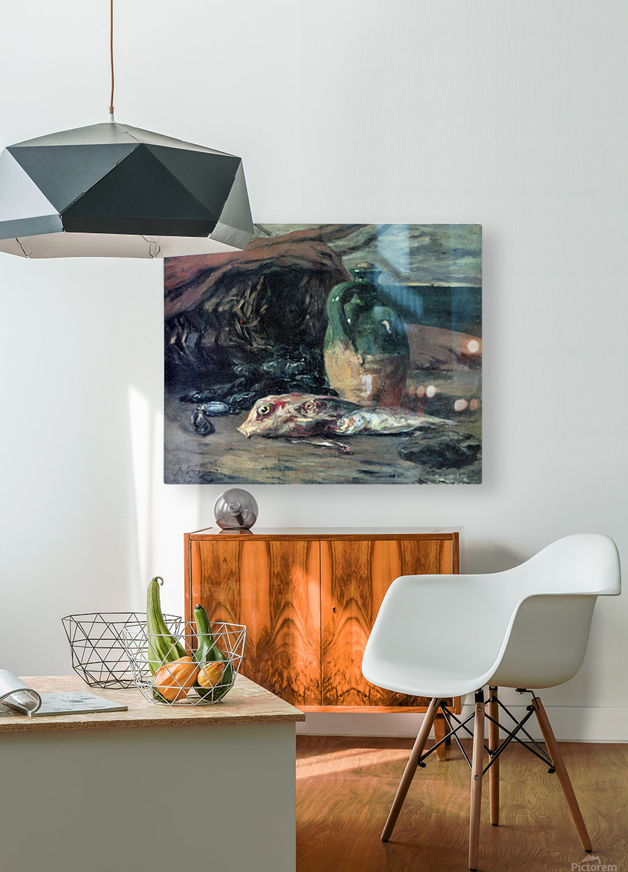 Still Life with Fish by Gauguin  HD Metal print with Floating Frame on Back