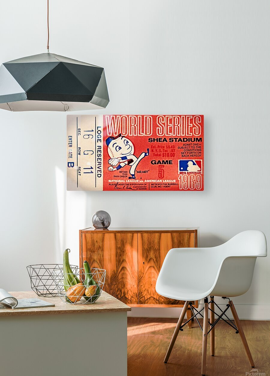 1969 New York Mets Game 5 Ticket Art  HD Metal print with Floating Frame on Back