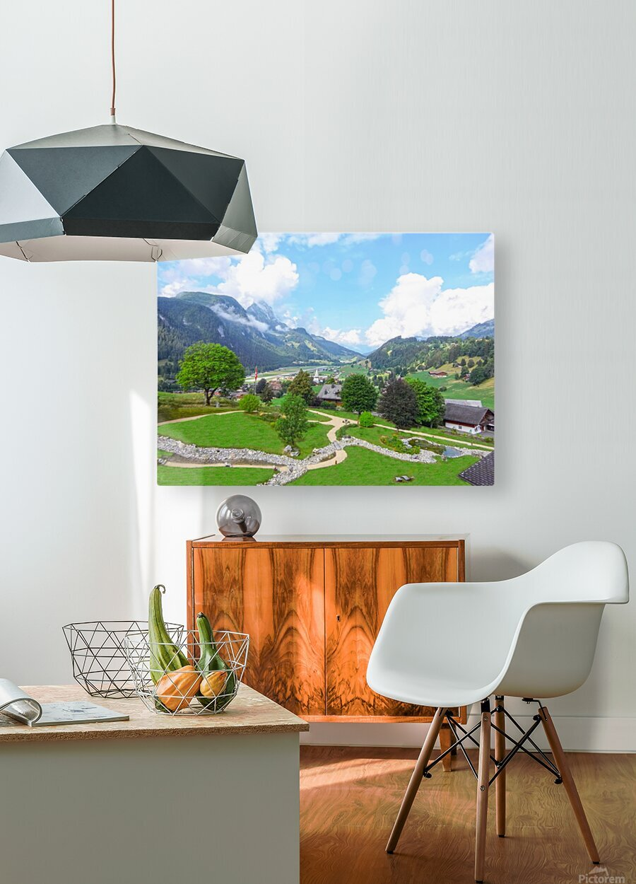 The  Saane valley in Switzerland Surrounded by the Alps  HD Metal print with Floating Frame on Back