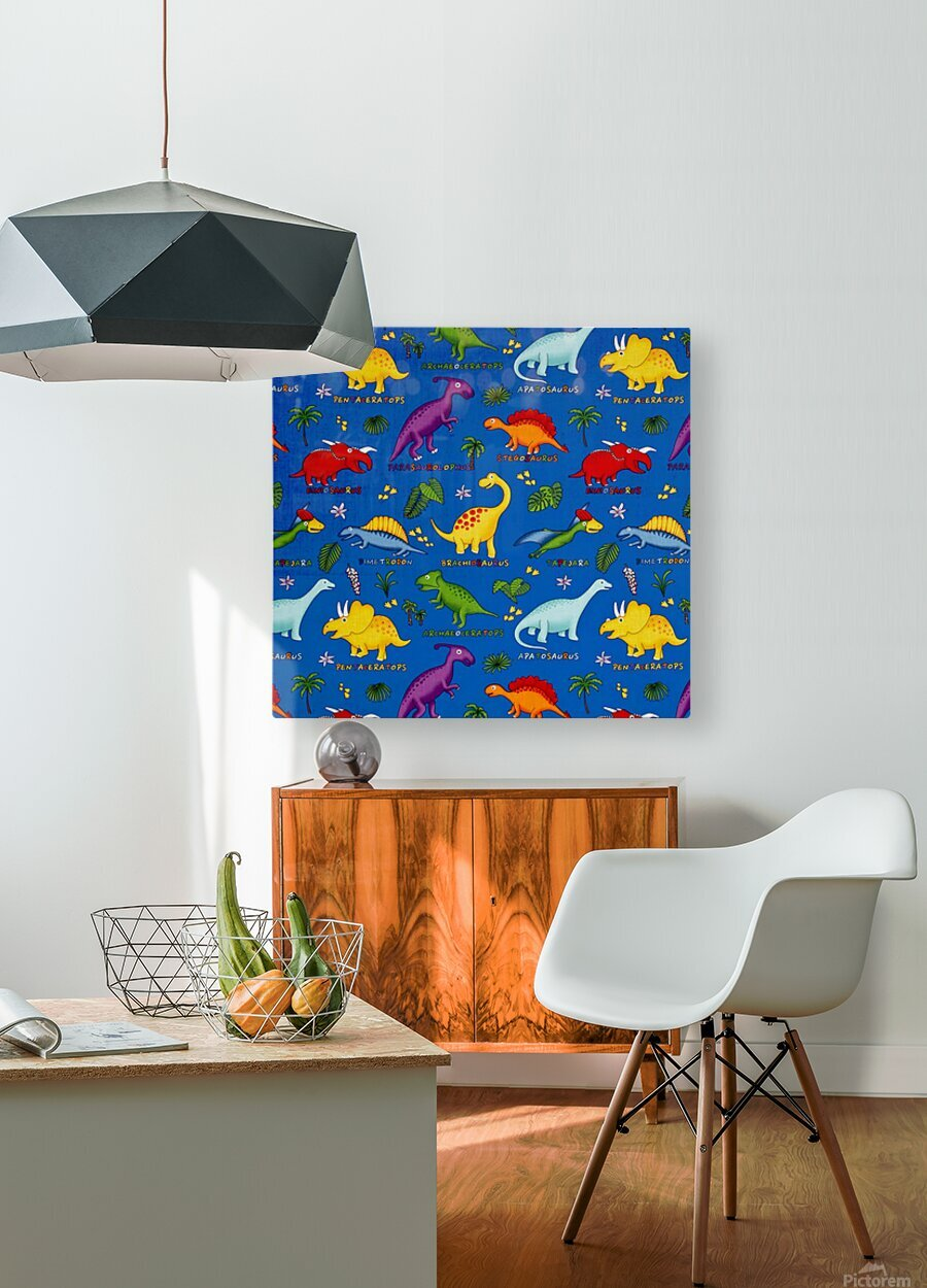 Dinosaurs Royal-Multi  HD Metal print with Floating Frame on Back
