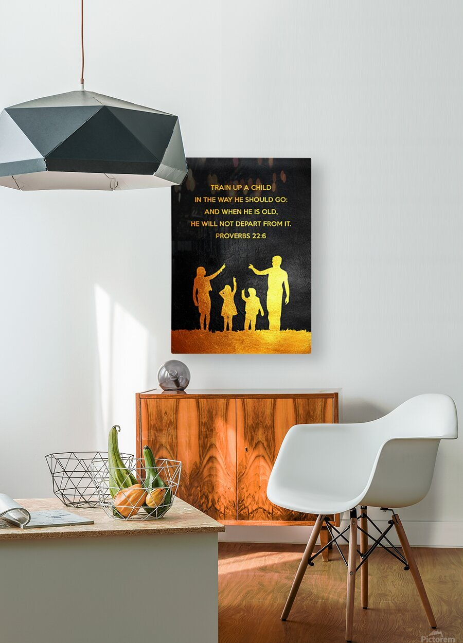 Proverbs 22:6 Bible Verse Wall Art  HD Metal print with Floating Frame on Back