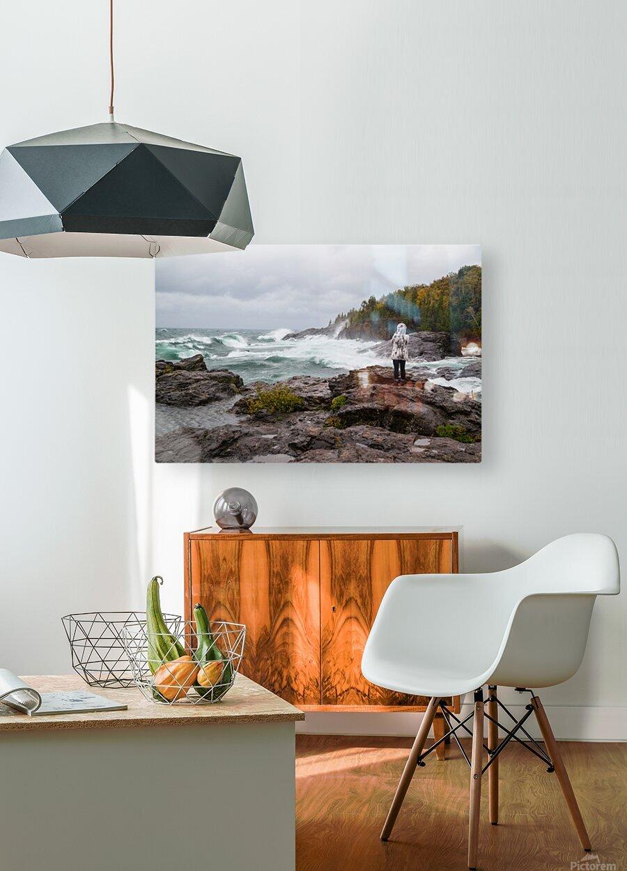 Crashing Waves ap 2605  HD Metal print with Floating Frame on Back