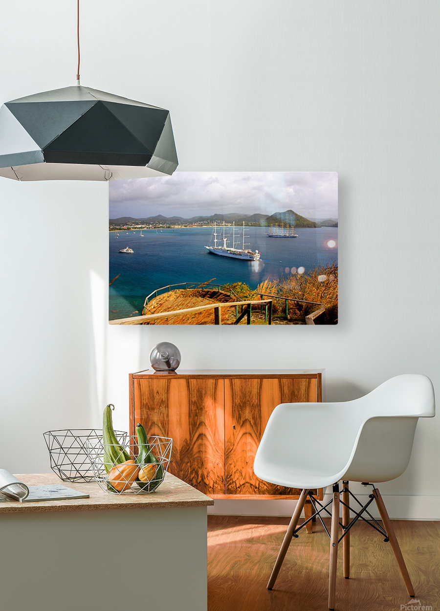 Tall ships at anchor Rodney Bay Landscape  HD Metal print with Floating Frame on Back