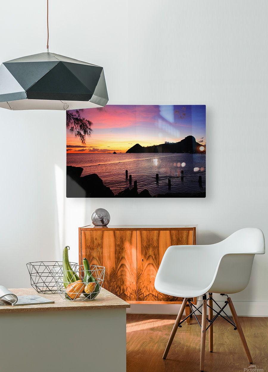 Sunset looking at Pigeon Island  HD Metal print with Floating Frame on Back