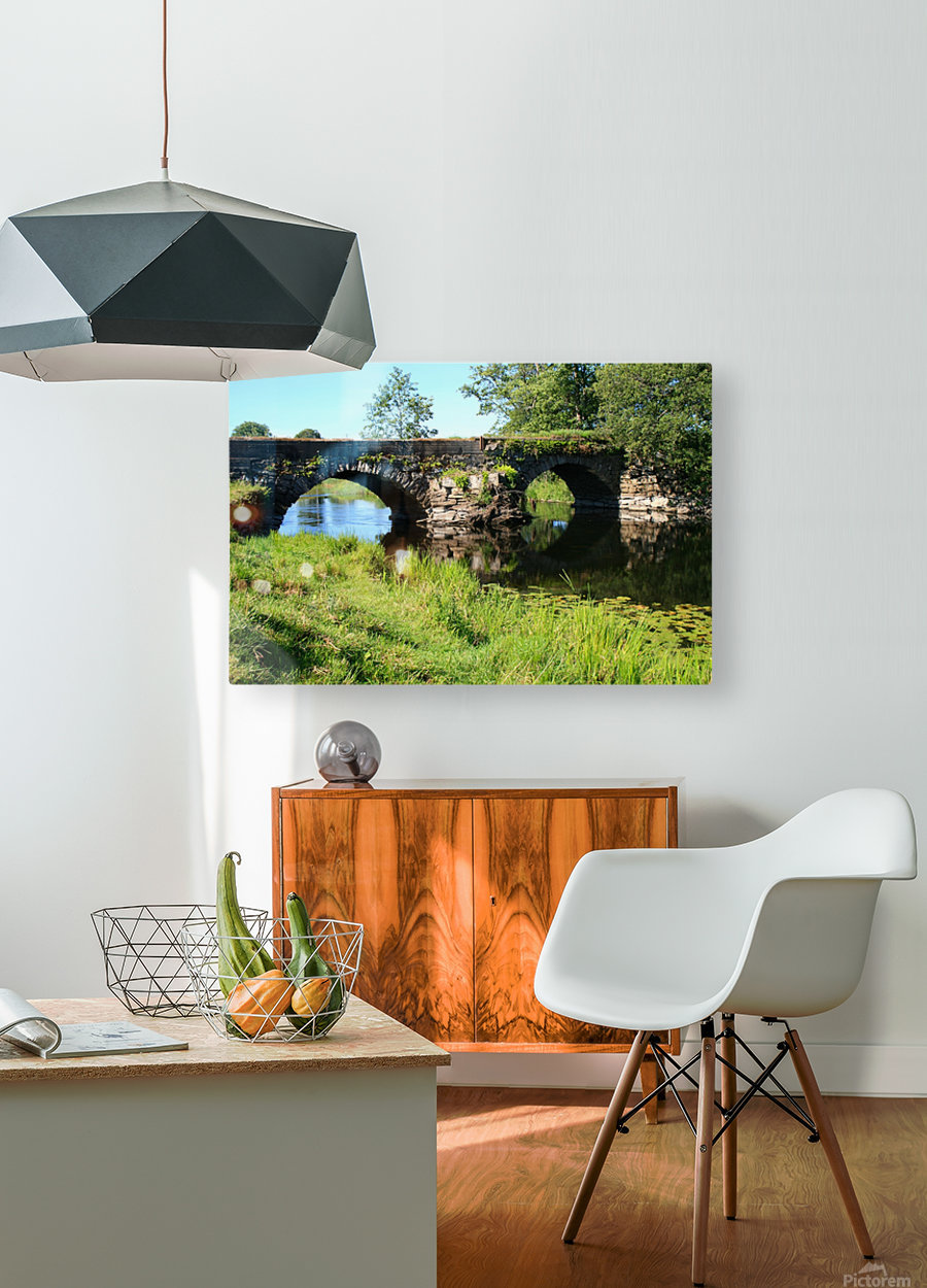 Countryside bridge   Sweden  HD Metal print with Floating Frame on Back