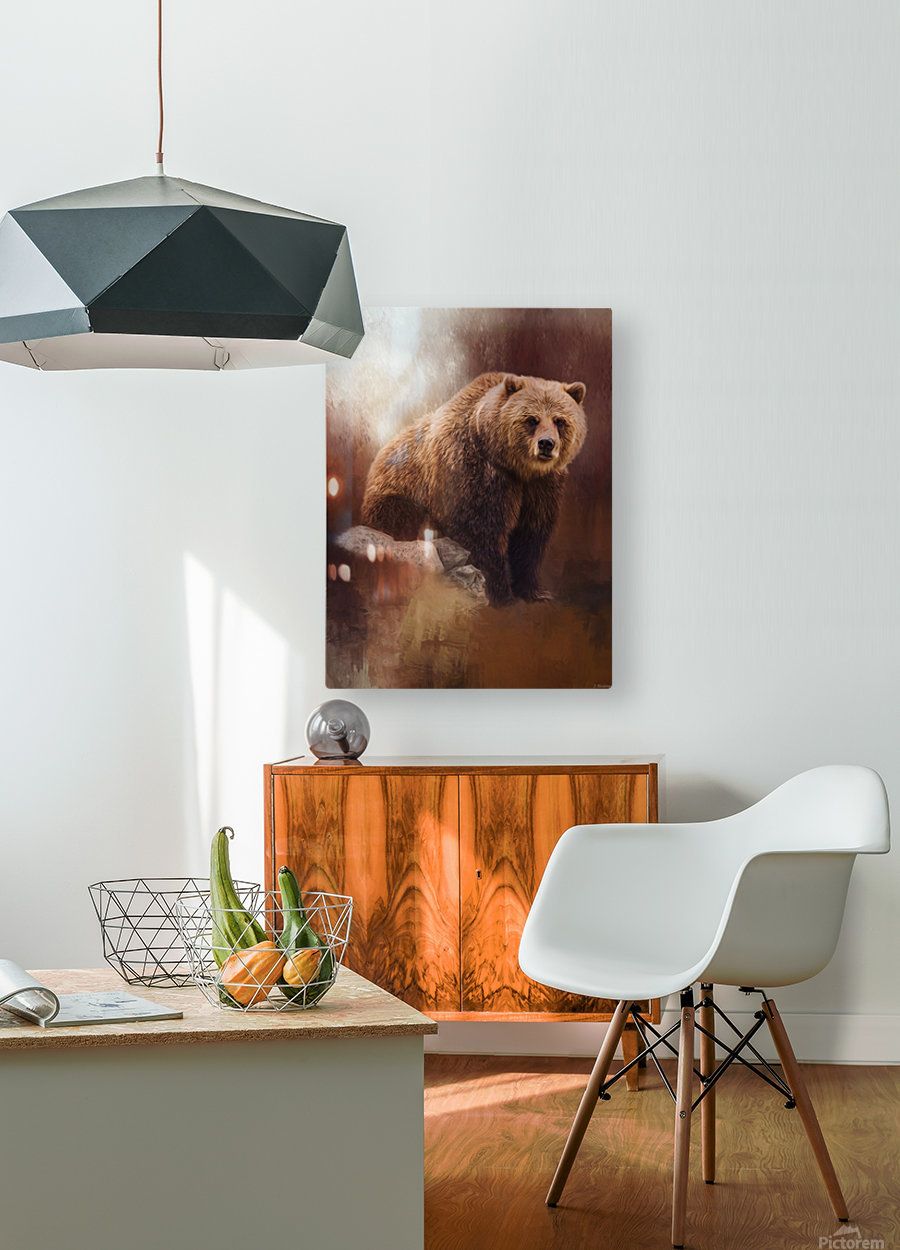 Great Strength - Grizzly Bear Art by Jordan Blackstone  HD Metal print with Floating Frame on Back