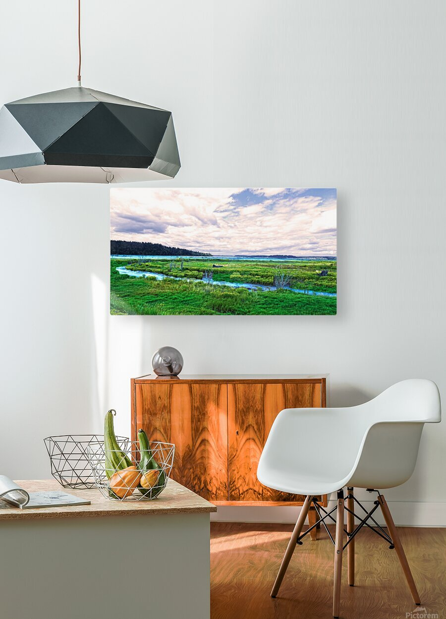 The Estuary in Fall  HD Metal print with Floating Frame on Back