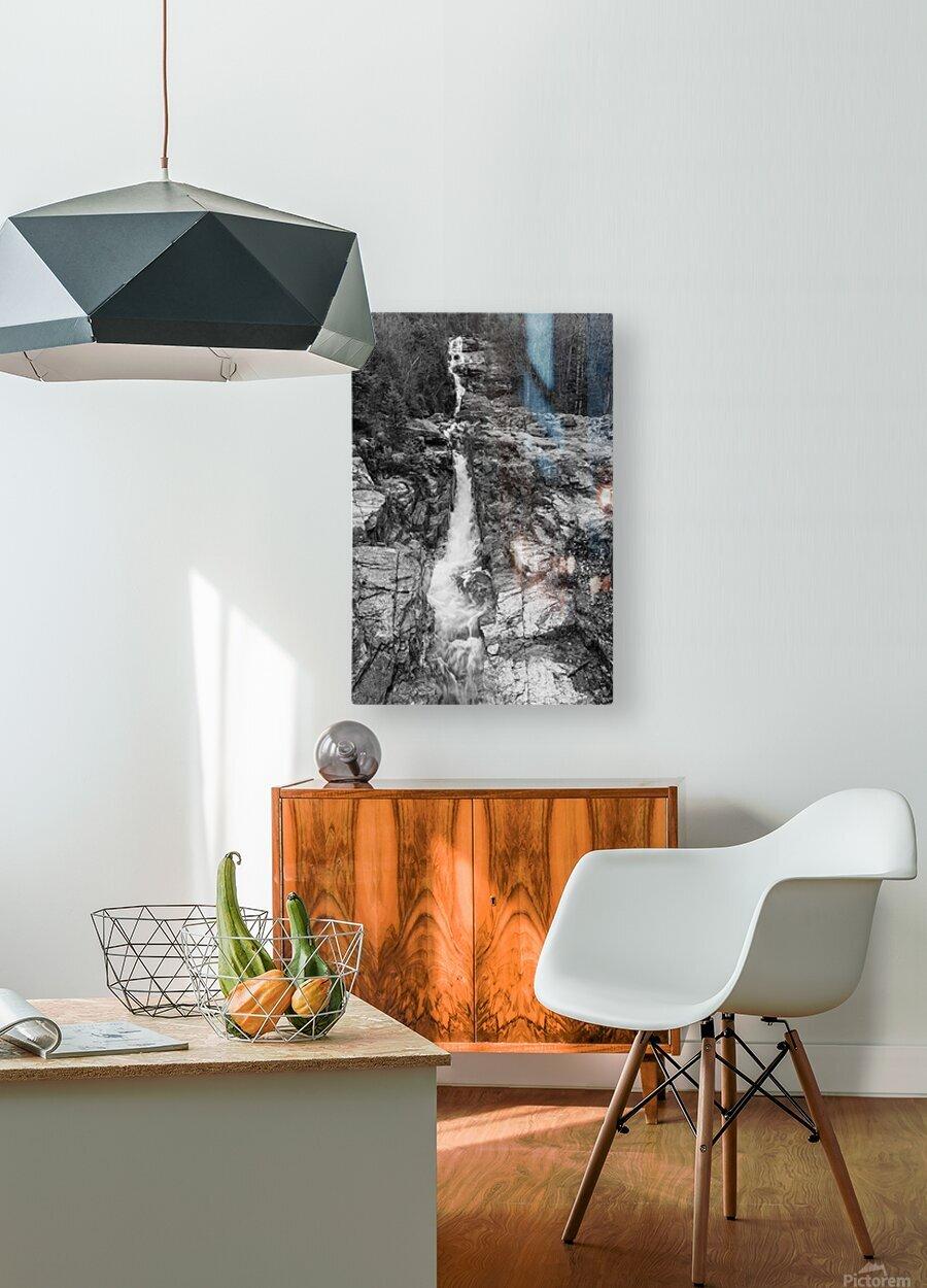 Silver Cascade Falls ap 2226 B&W  HD Metal print with Floating Frame on Back