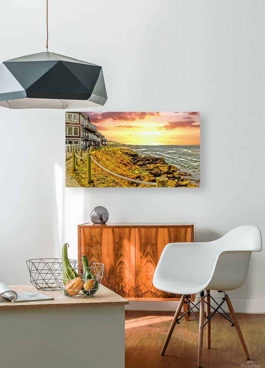 Depoe Bay On the Oregon Coast - Art Style  HD Metal print with Floating Frame on Back