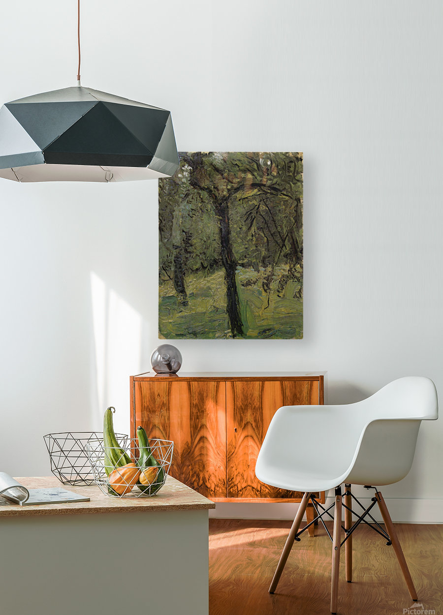 Sunny Meadow with fruit trees by Richard Gerstl  HD Metal print with Floating Frame on Back