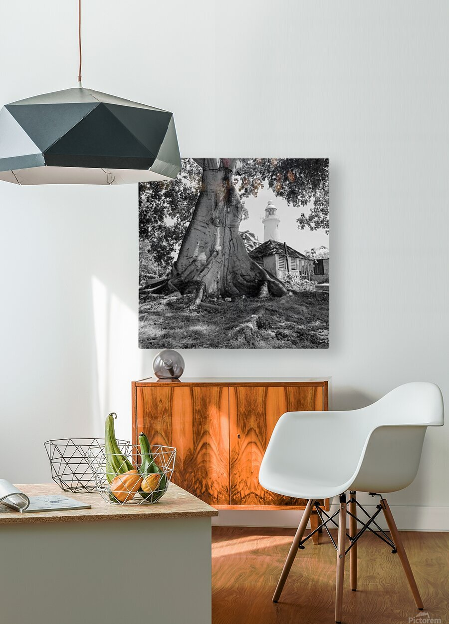 Negril Lighthouse ap 1516 B&W  HD Metal print with Floating Frame on Back