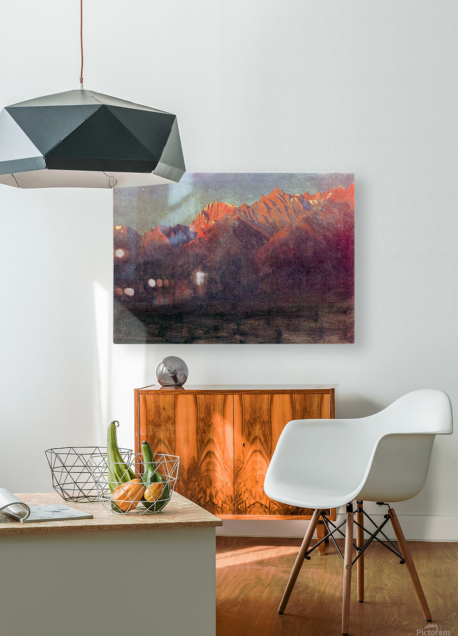Sunrise in the Sierras by Bierstadt  HD Metal print with Floating Frame on Back