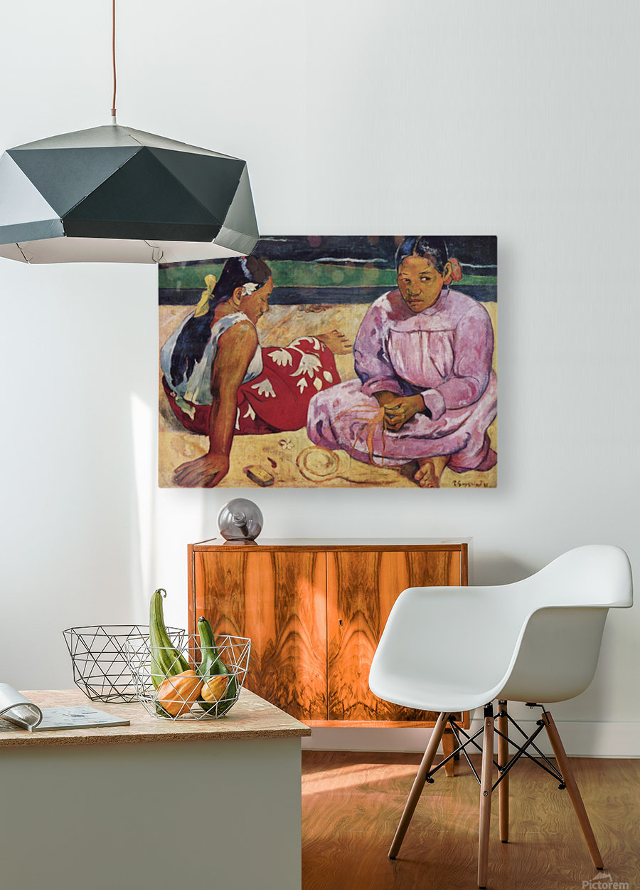 Tahitian Women on Beach by Gauguin  HD Metal print with Floating Frame on Back